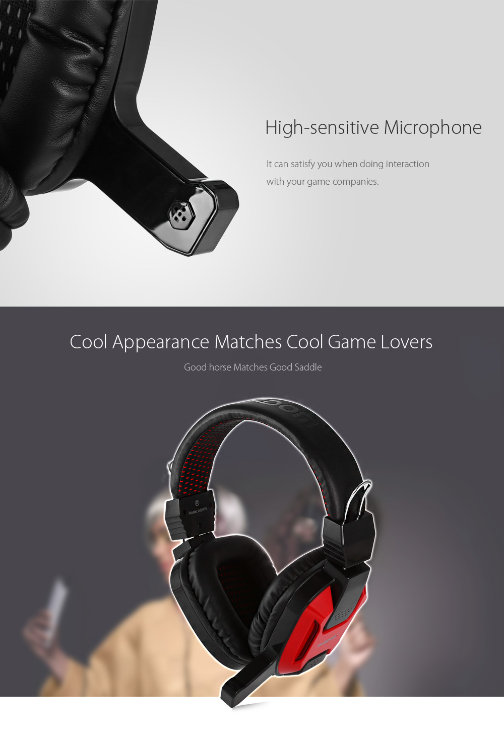 AUSDOM AGH15 Wired Game Headset with Voice Control