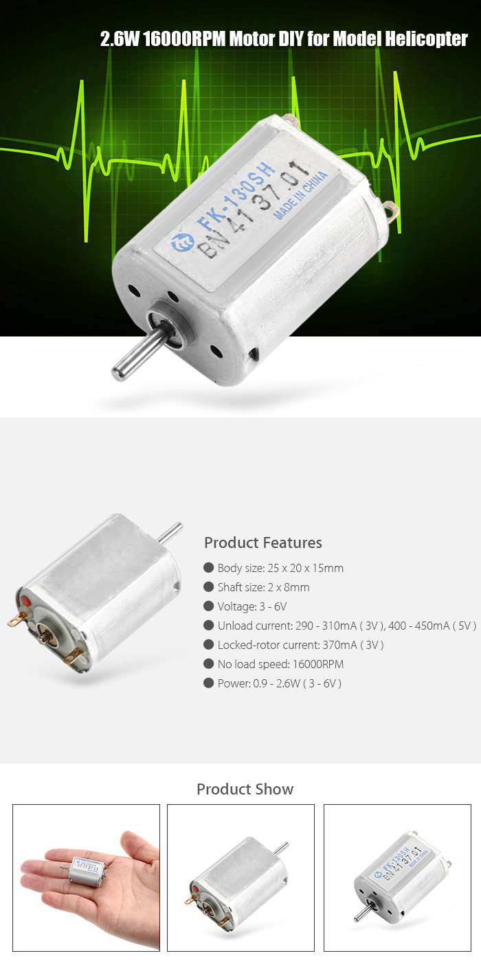 FK - 130SH 2.6W 16000RPM Motor for Aircraft Model Airplane