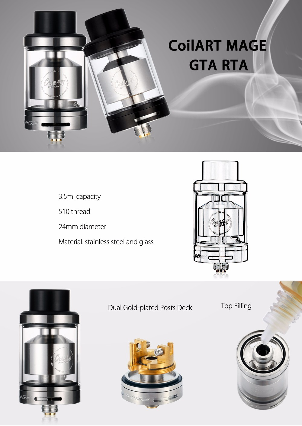 CoilART MAGE GTA RTA with 3.5ml Capacity / 24mm Diameter / Bottom Airflow for E Cigarette