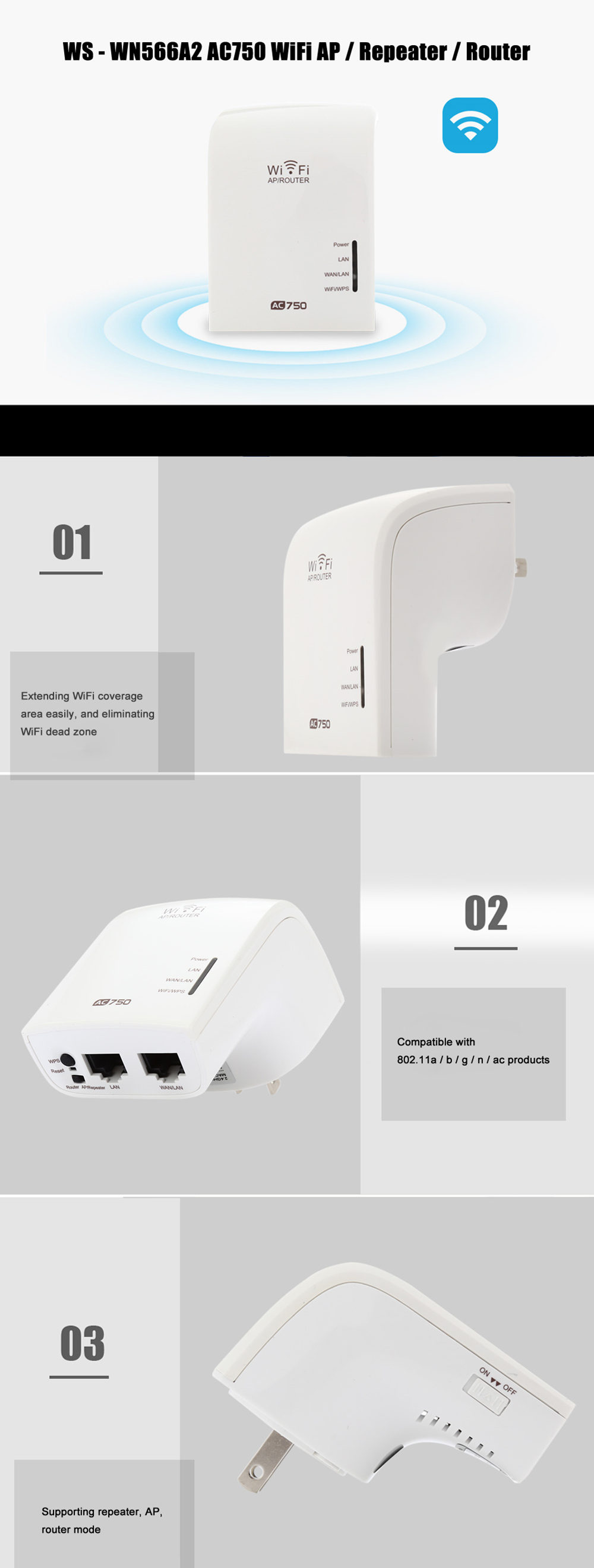 WS - WN566A2 AC750 WiFi AP / Repeater / Router Wireless Network Device