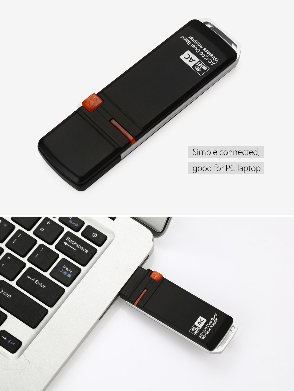 AC 1200Mbps Dual-band Wireless Networking Adapter 2.4GHz / 5.0GHz USB 3.0 WiFi