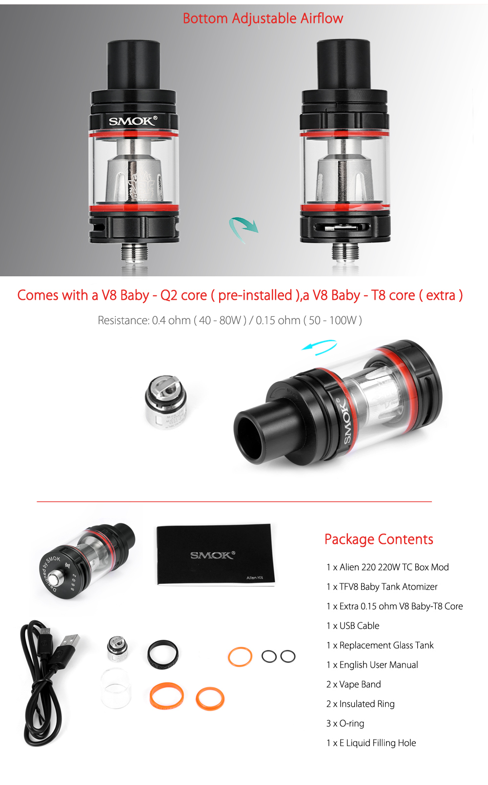 Original SMOK Alien Kit with 220W / 200 - 600F / 100 - 315C TC Box Mod / 3.0ml / 0.15ohm / 0.4ohm TFV8 Baby Tank Atomizer for E Cigarette