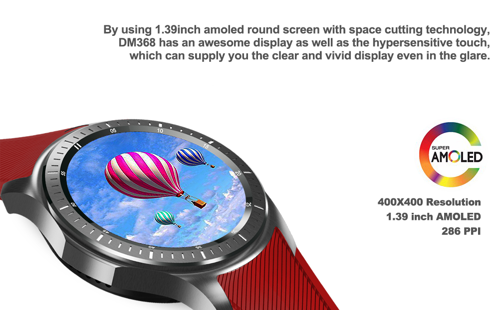 DOMINO DM368 1.39 inch Android 5.1 3G Smartwatch Phone MTK6580 1.3GHz Quad Core 8GB ROM Pedometer Heart Rate Monitoring