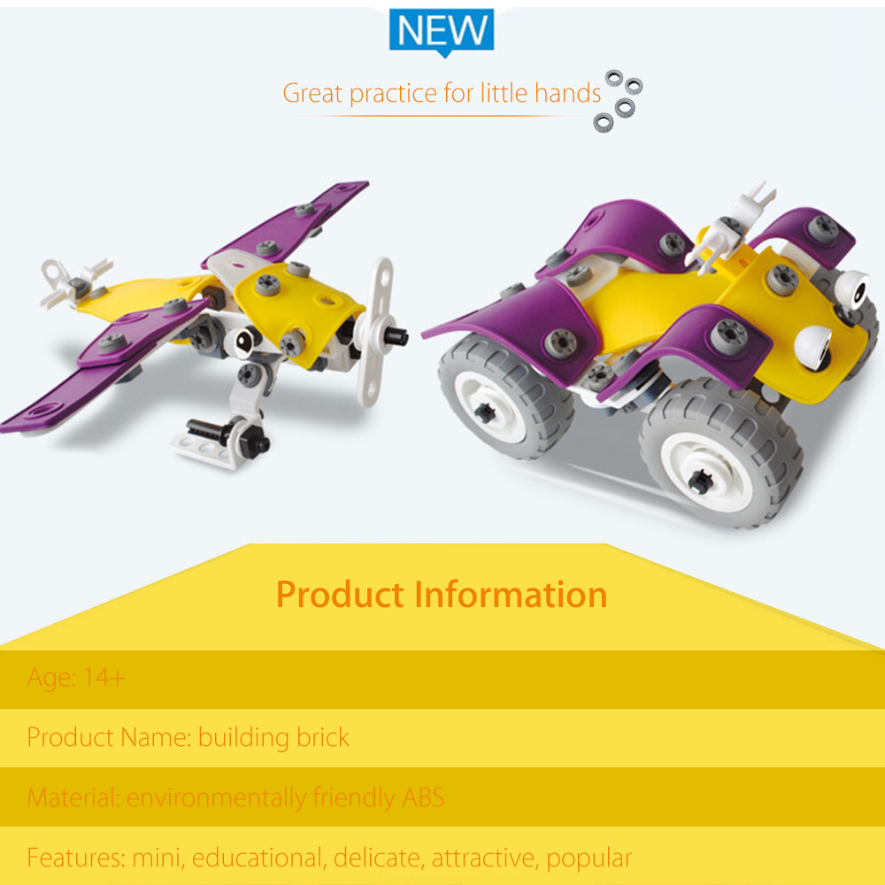 Transformable Vehicle Model Kit DIY Assembly with 4 Shapes for Kids