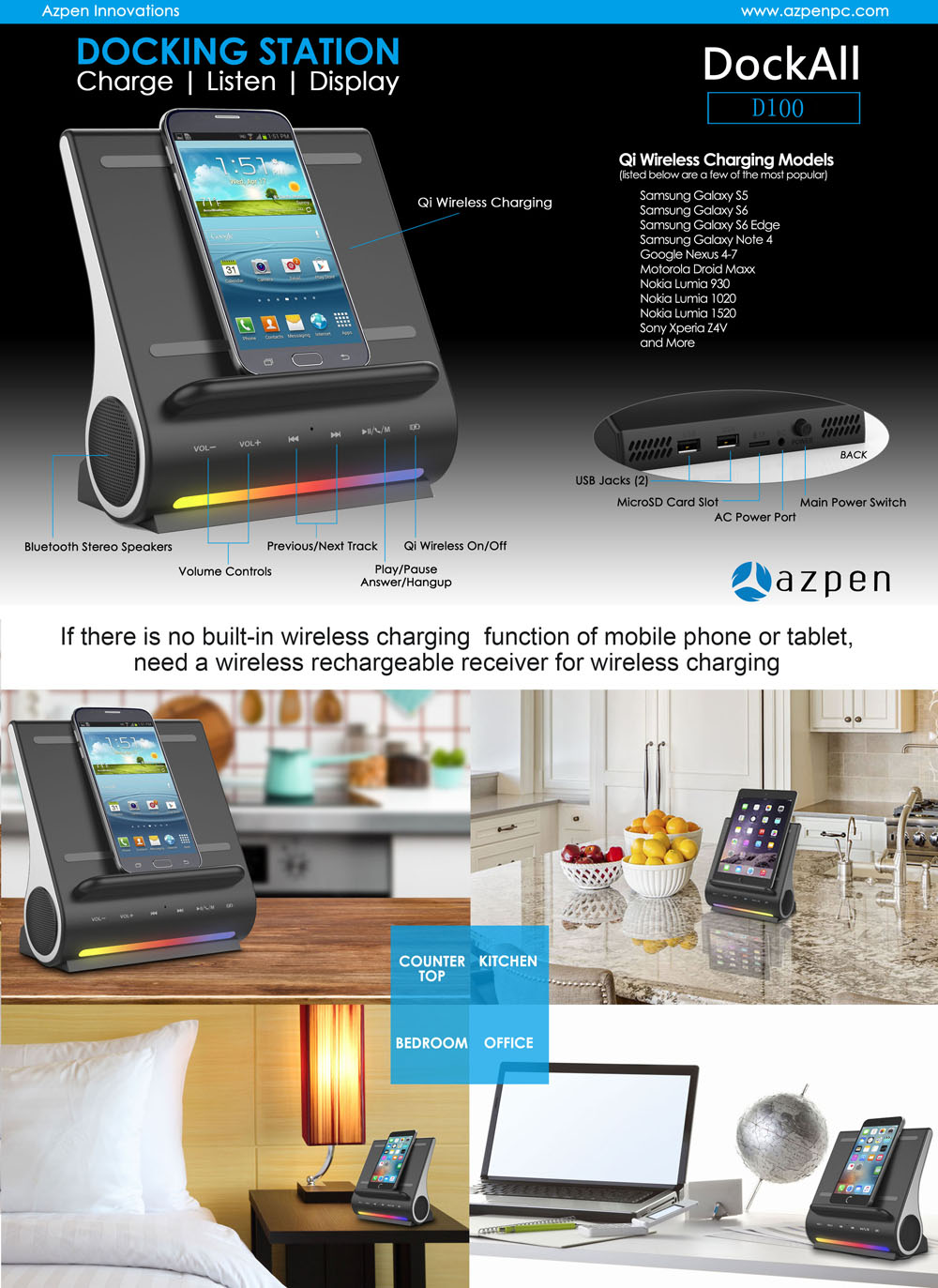 AZPEN D100 Qi Wireless Charger Bluetooth 4.0 HiFi Speaker Charging Dock Station with Dual USB Output TF Card Slot