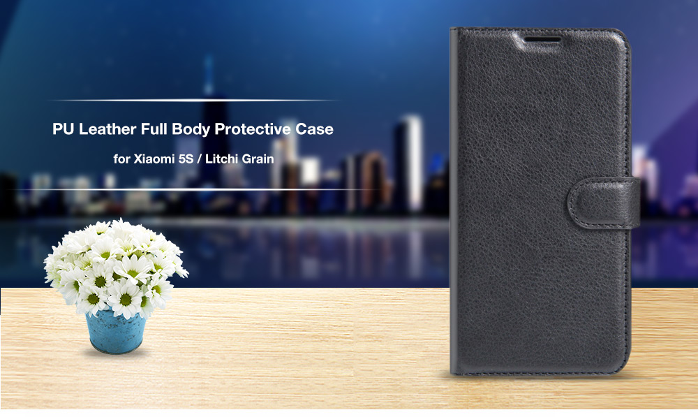Lichee Pattern Protective Full Body Flip Wallet Case for Xiaomi 5S PU Leather Shell with Stand Card Slot