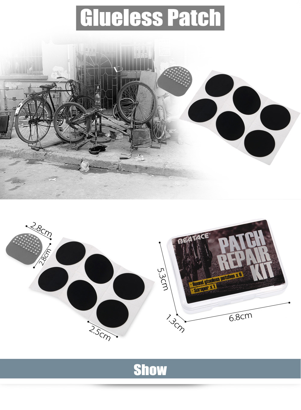 BEATACE BE80 - PT 6pcs Rubber Round Glueless Patch Bicycle Repairing Tool with Scraper / Box