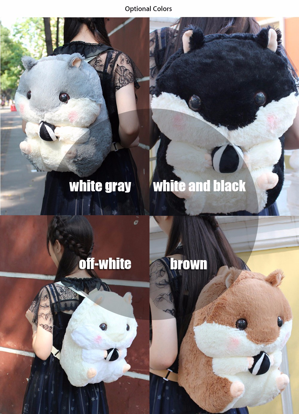 Adorable Soft Plush Hamster Backpack Cartoon Animal Shaped Students Bag