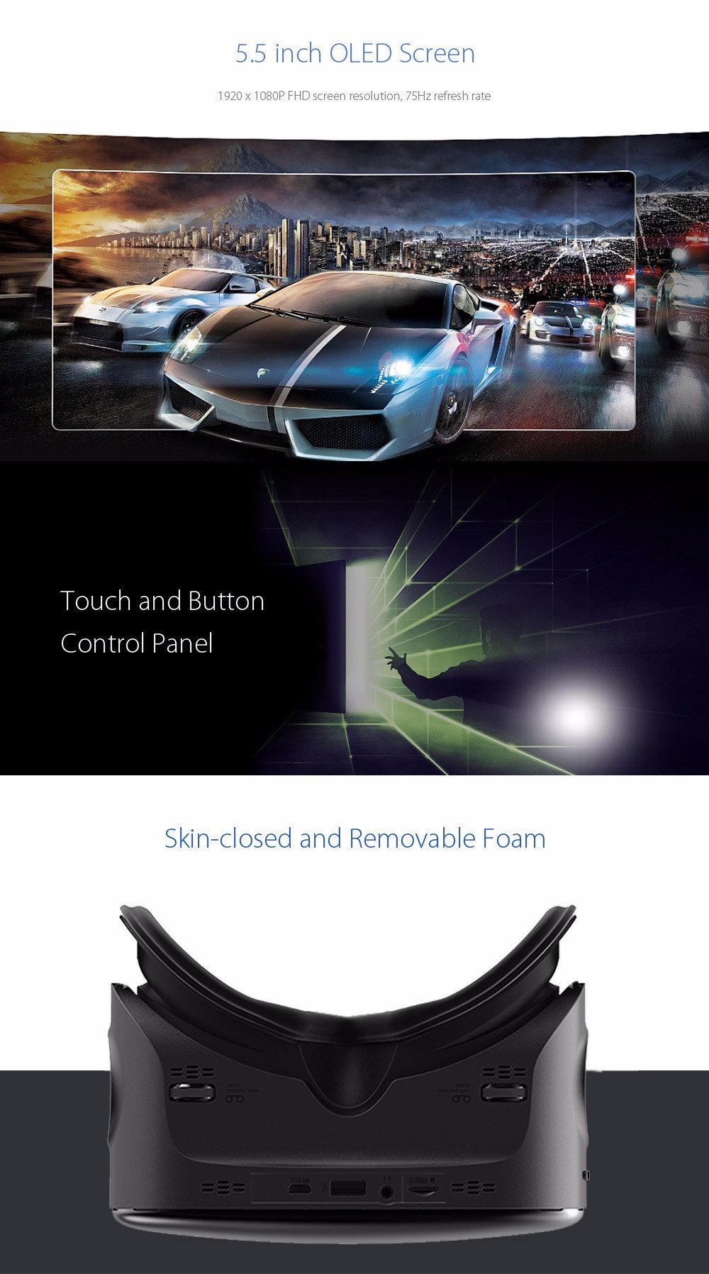 VIULUX V6 All-in-one VR 3D Headset 110 Degree FOV IPD Adjustment 5.5 inch Display Allwinner H8 Chipset