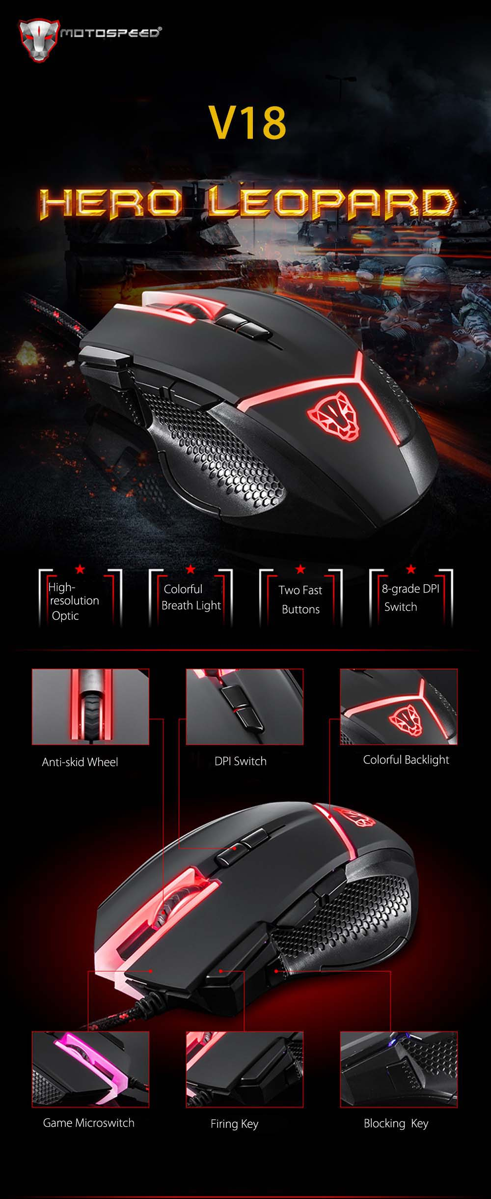 Motospeed V18 Gaming Mouse Wired