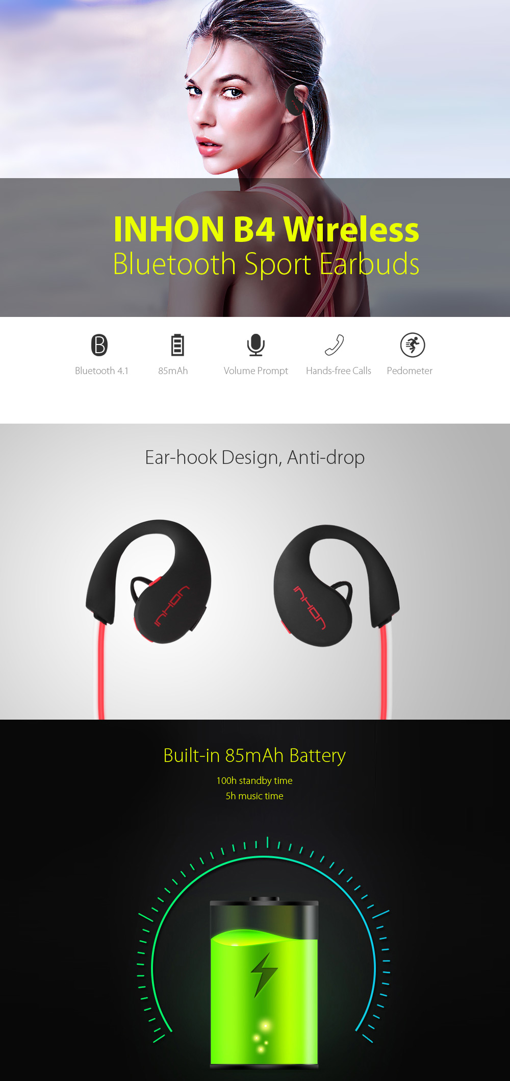 INHON B4 Wireless Bluetooth 4.1 Lighting Sport Earbuds Support Hands-free Calls Volume Control