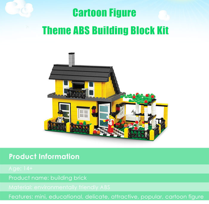 ABS House Miniature Kit with Figure DIY Building Block Toy - 449pcs / set