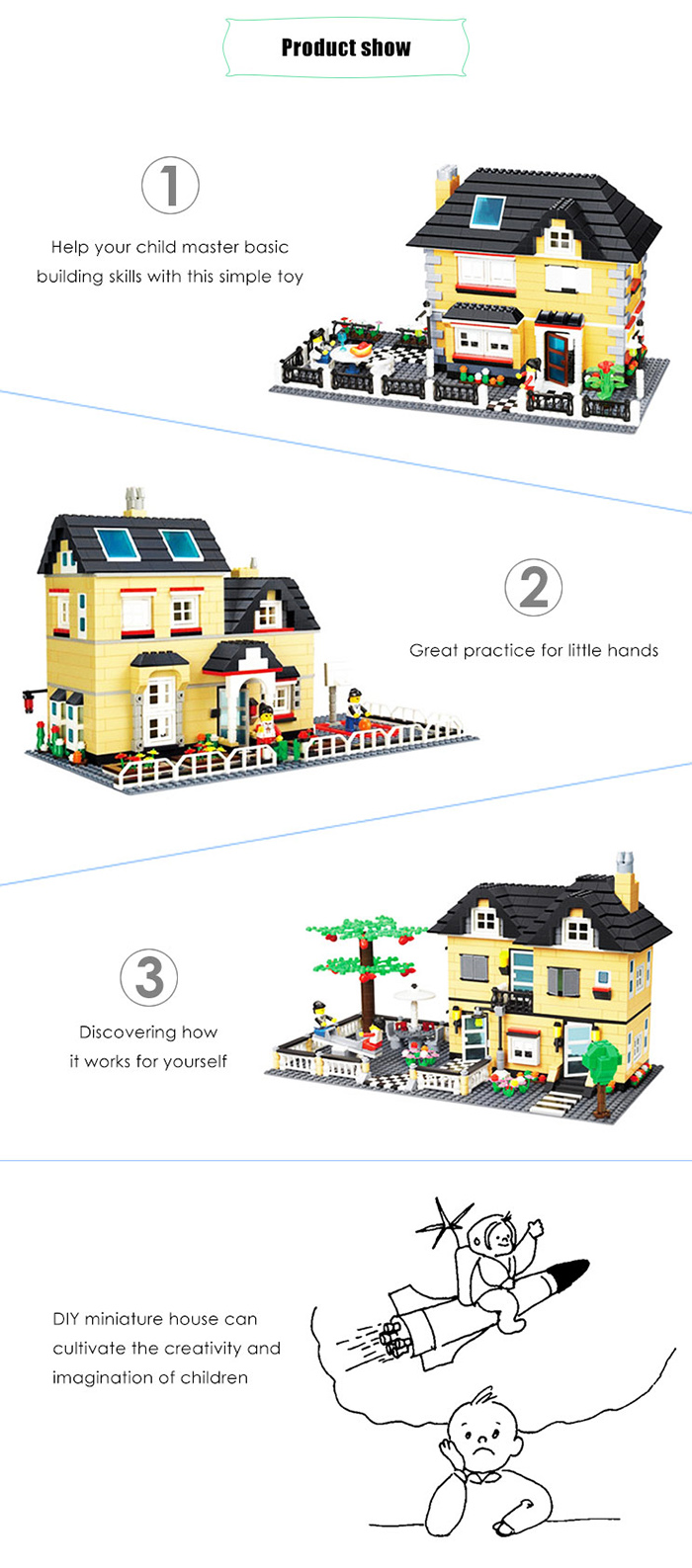 ABS House Miniature Kit with Figure DIY Building Block Toy - 815pcs / set