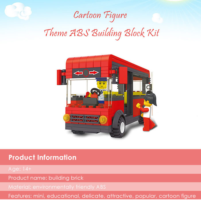 ABS Bus Miniature Kit with Figure DIY Building Block Toy