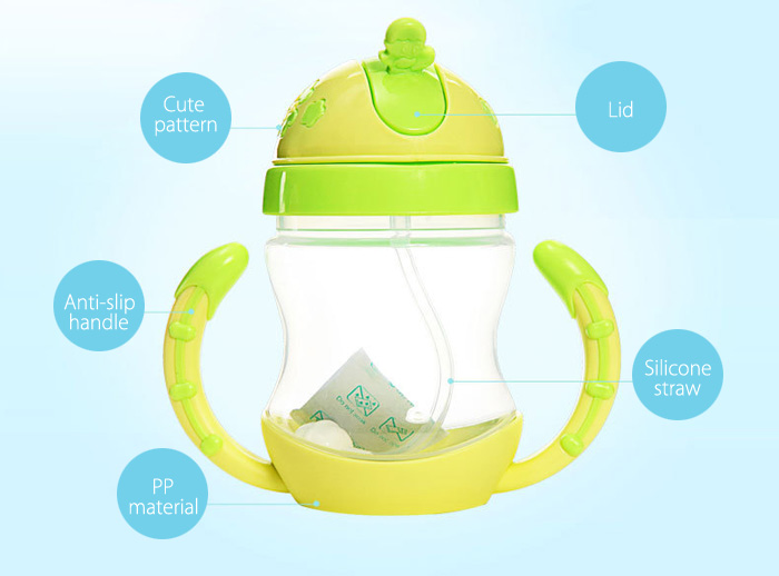 REIZBABY Cute Baby Infant 240ml Straw Bottle PP Material