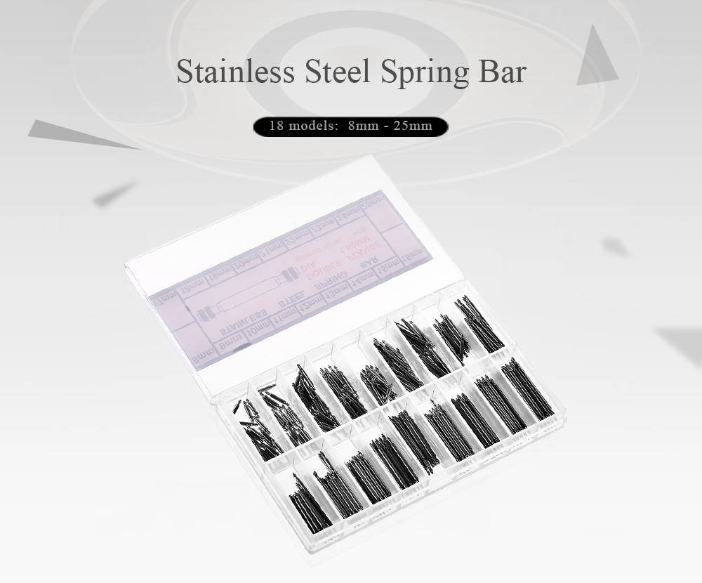 Boxed Stainless Steel Spring Bar Set