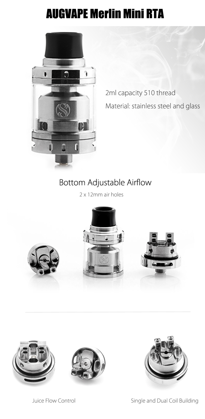 Original AUGVAPE Merlin Mini RTA with 2ml Capacity / Juice Flow Control / Bottom Airflow for E Cigarette