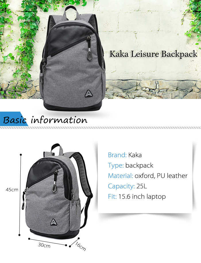 Kaka 2220 PU Leather 25L Leisure Backpack 15.6 inch Laptop Bag with Sunglasses