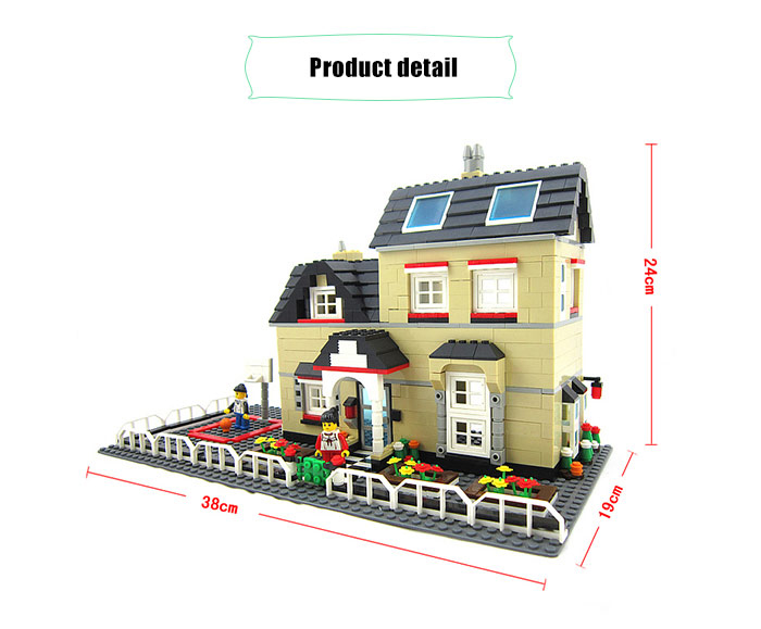 ABS House Miniature Kit with Figure DIY Building Block Toy - 755pcs / set
