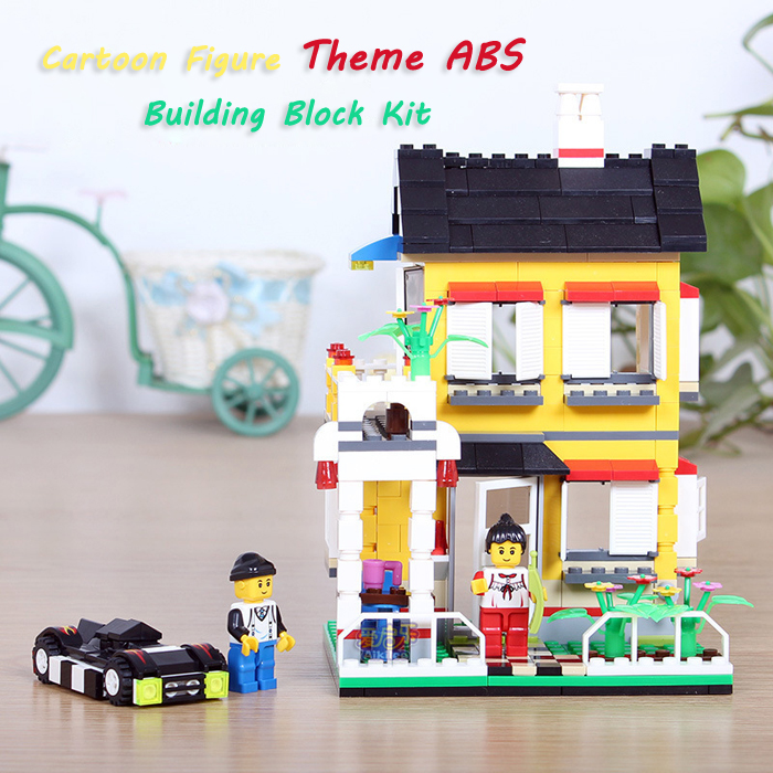 ABS House Miniature Kit with Figure DIY Building Block Toy - 390pcs / set