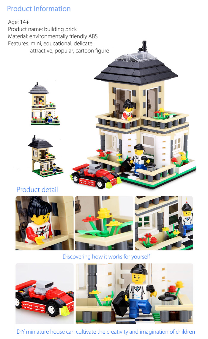 ABS House Miniature Kit with Figure DIY Building Block Toy - 405pcs / set