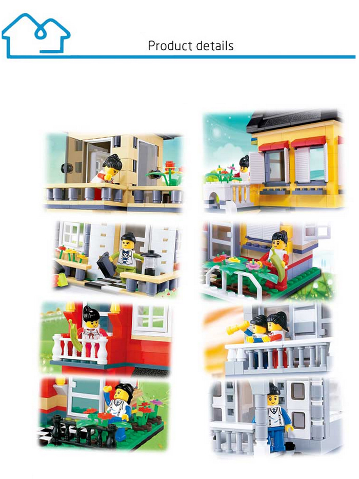 ABS House Miniature Kit with Figure DIY Building Block Toy - 909pcs / set