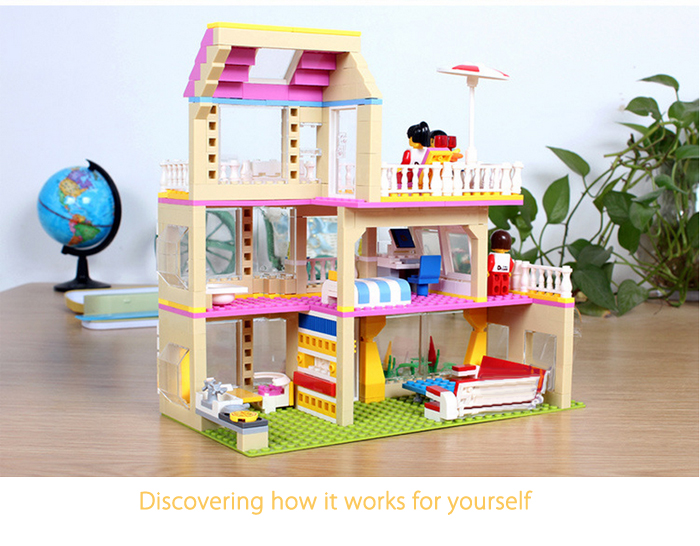ABS House Theme Miniature Kit with Figure DIY Building Block Toy