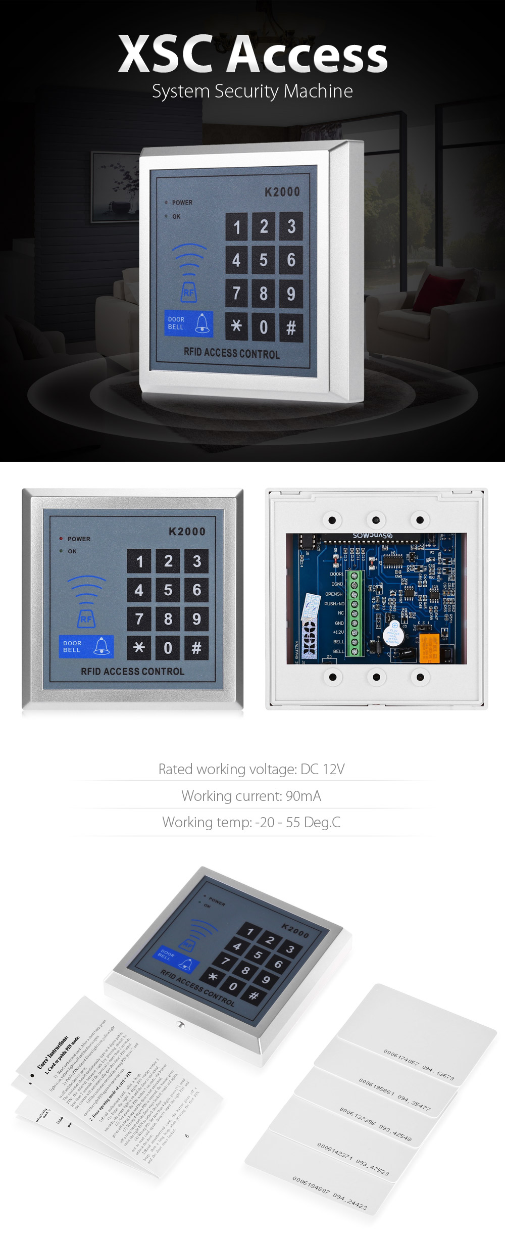 XSC K200 Access Control System Entrance with Password / Inductive Card