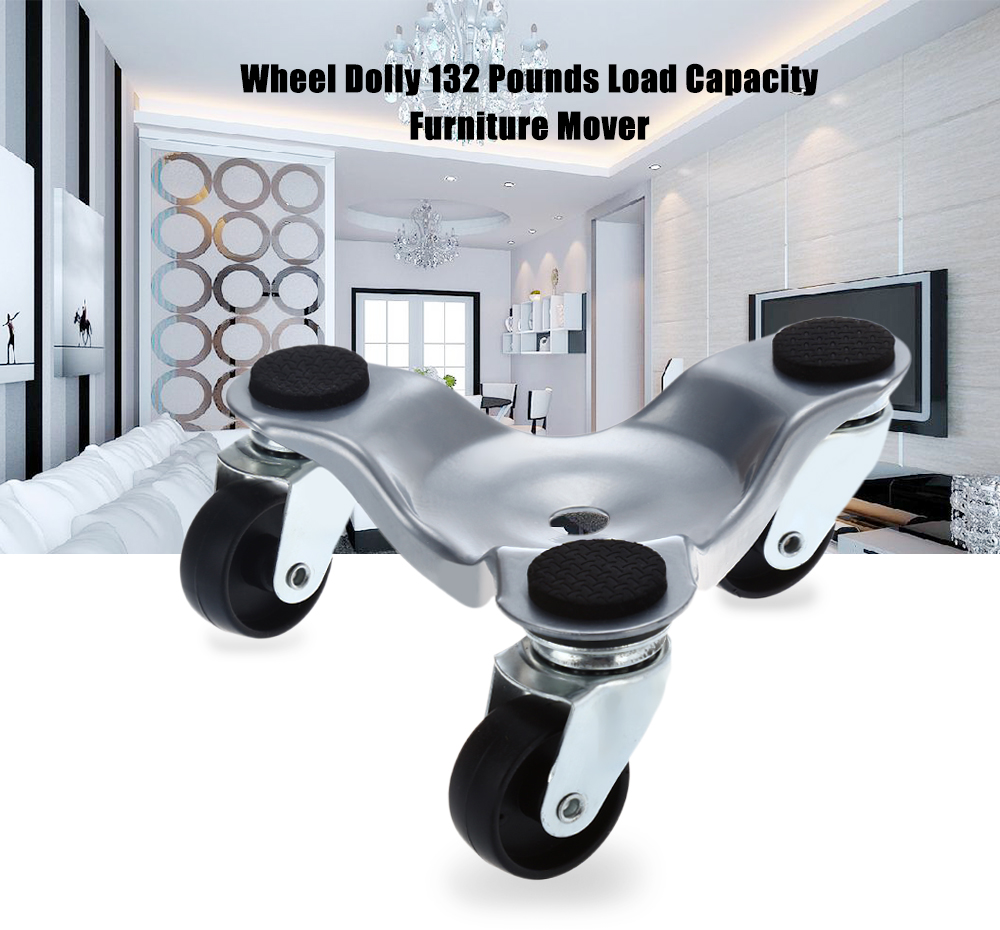Portable 3 Wheel Dolly 132 Pounds Load Capacity Furniture Mover