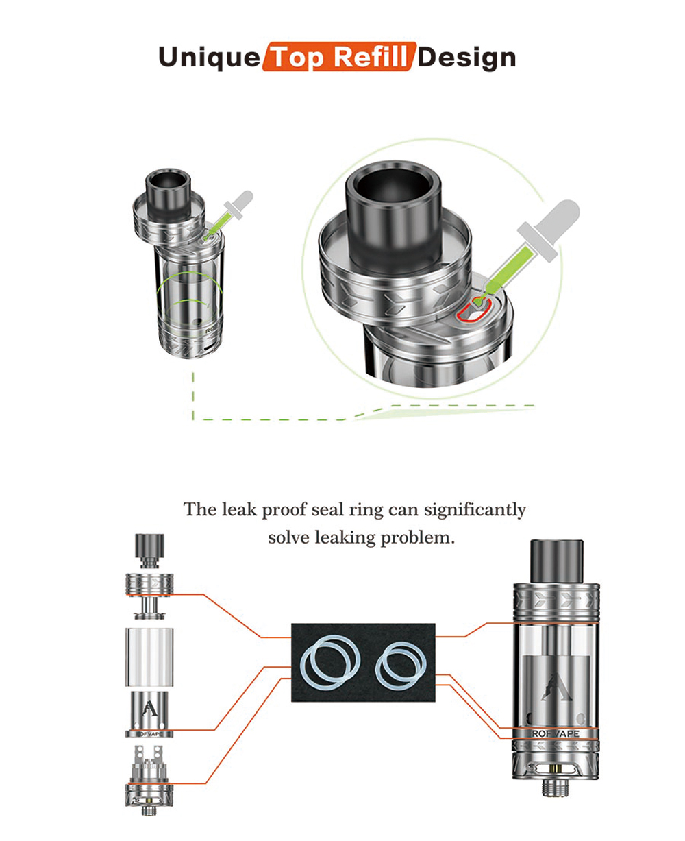 Original Rofvape Chris B RTA with Velocity Deck / Top Filling / 3.5ml Capacity / Anti-leaking Design for E Cigarette