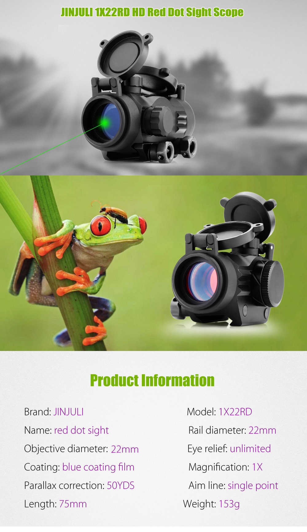 JINJULI 1X22RD HD Red Dot Sight Scope Tactical Telescope