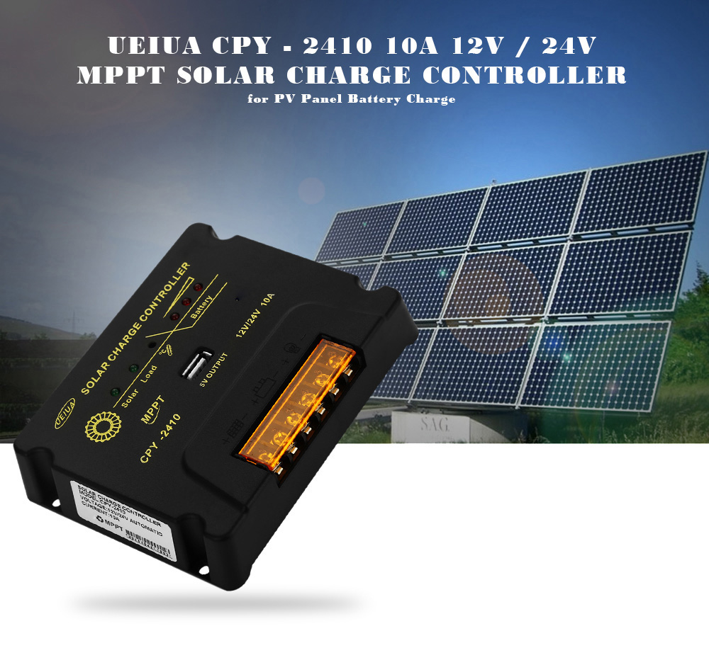 UEIUA CPY - 2410 10A 12V / 24V MPPT Solar Charge Controller with LED Indicator