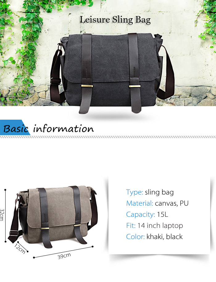 2642 Canvas / PU 15L Travel Leisure Sling Bag with Sunglasses