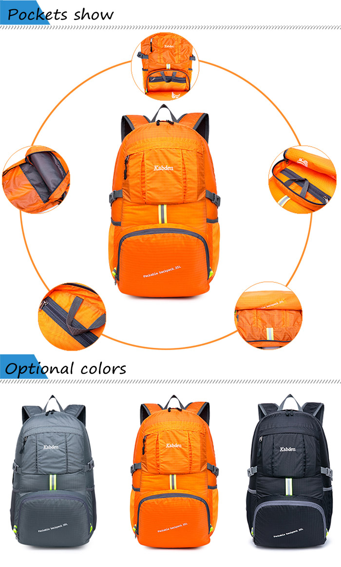 Kabden Water-resistant Nylon 35L Travel Backpack Bag with Folding Design