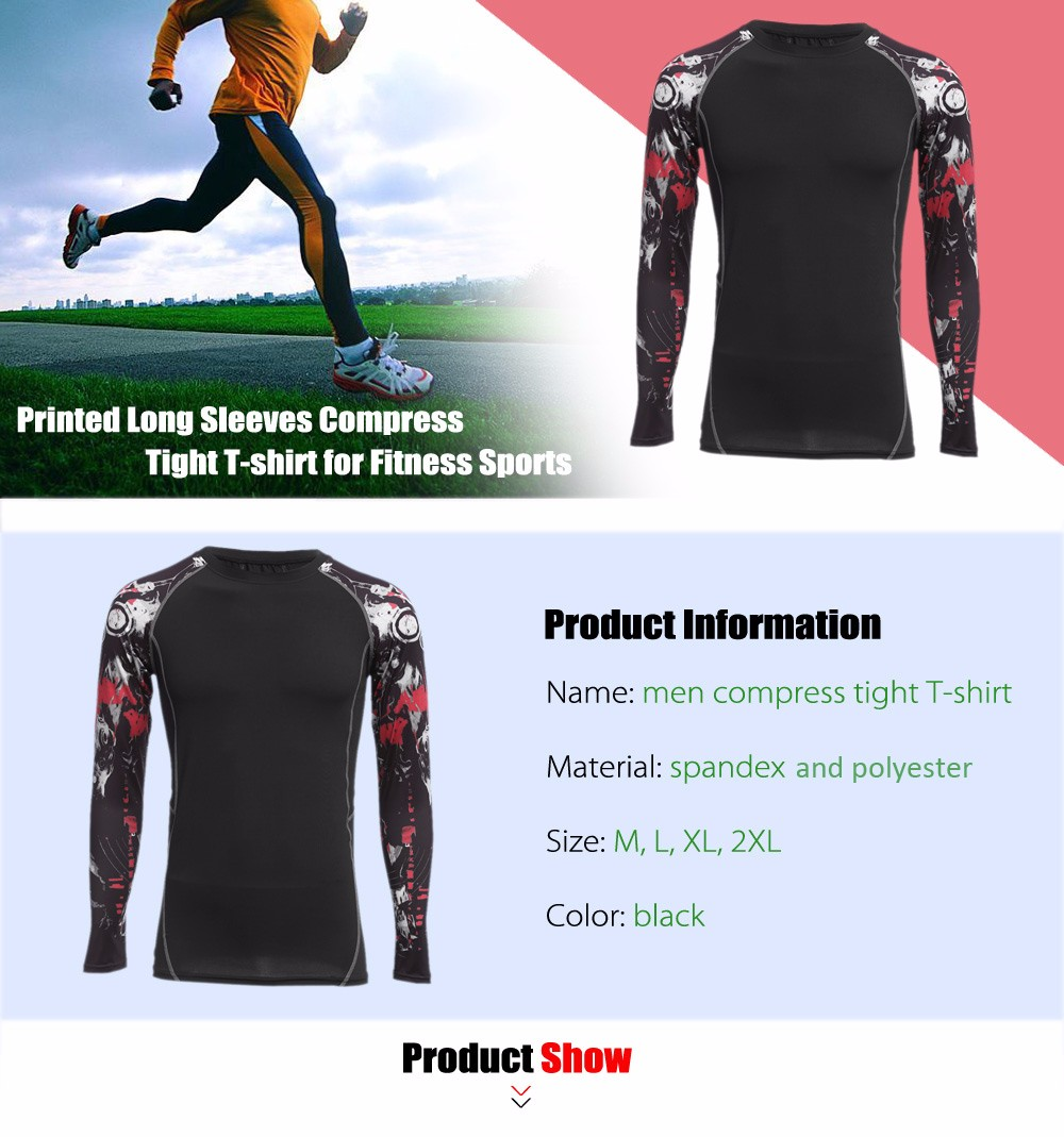 Men Printed Long Sleeves Compress Tight T-shirt Quick-drying Fitness Cloth
