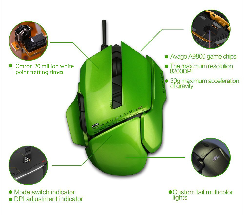 JamesDonkey 007 8200DPI DIY Optical USB Wired Gaming Mouse Mice for PC / Laptop