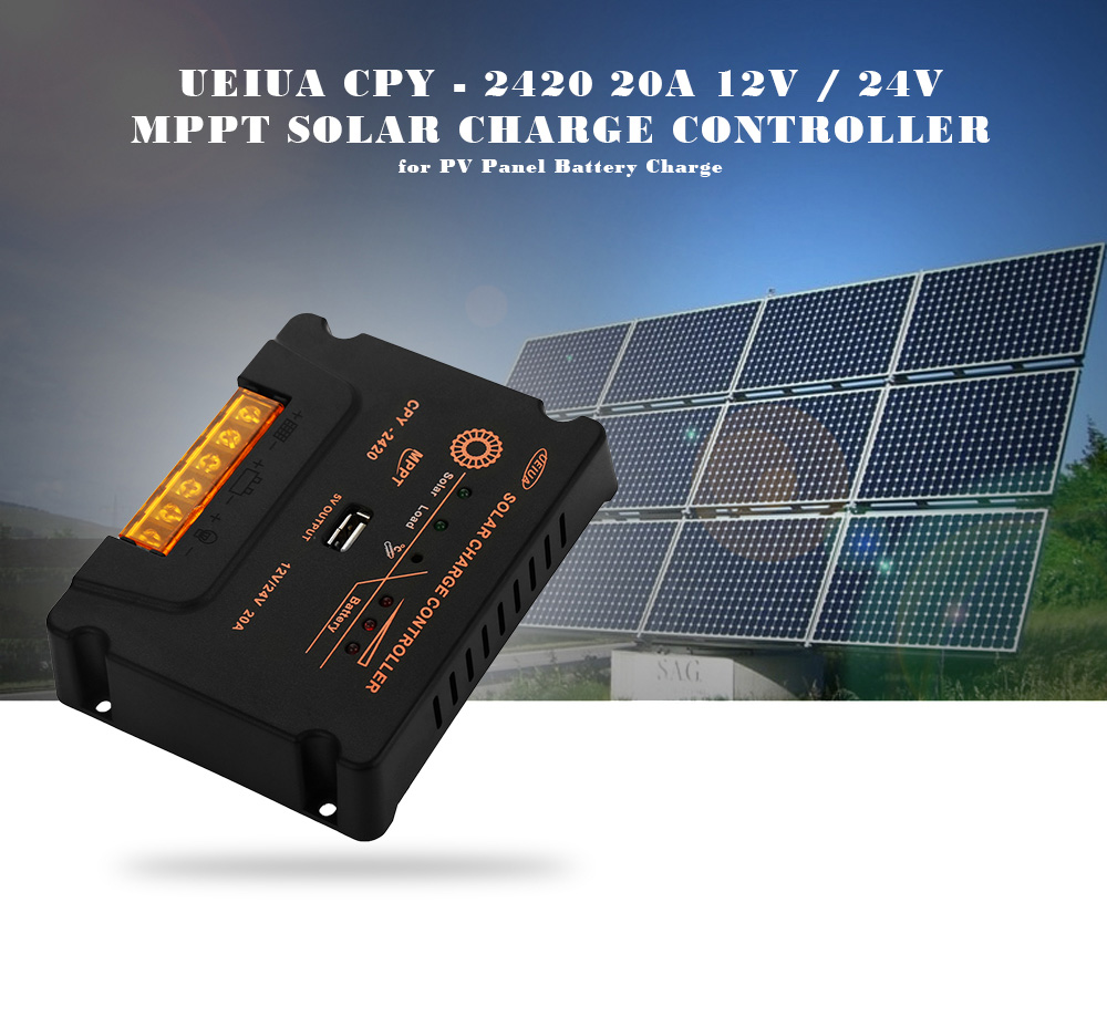 UEIUA CPY - 2420 20A 12V / 24V MPPT Solar Charge Controller with LED Indicator