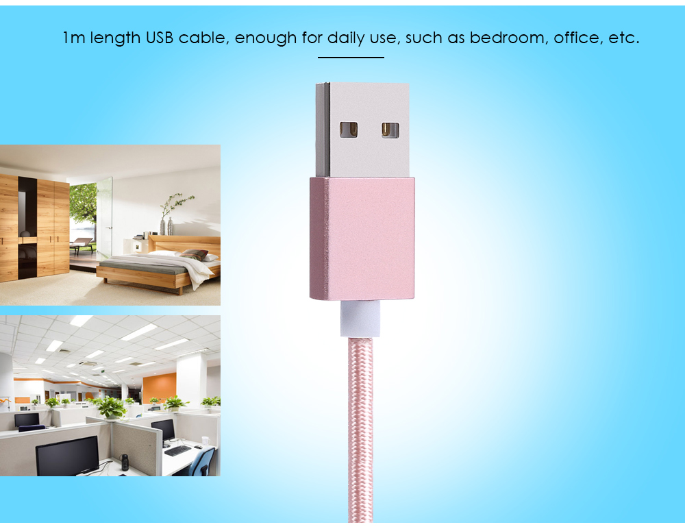 1m Magnetic Connector 8 Pin Micro USB Data Transfer Charging Cable Nylon Braided Pull Resistance Cord