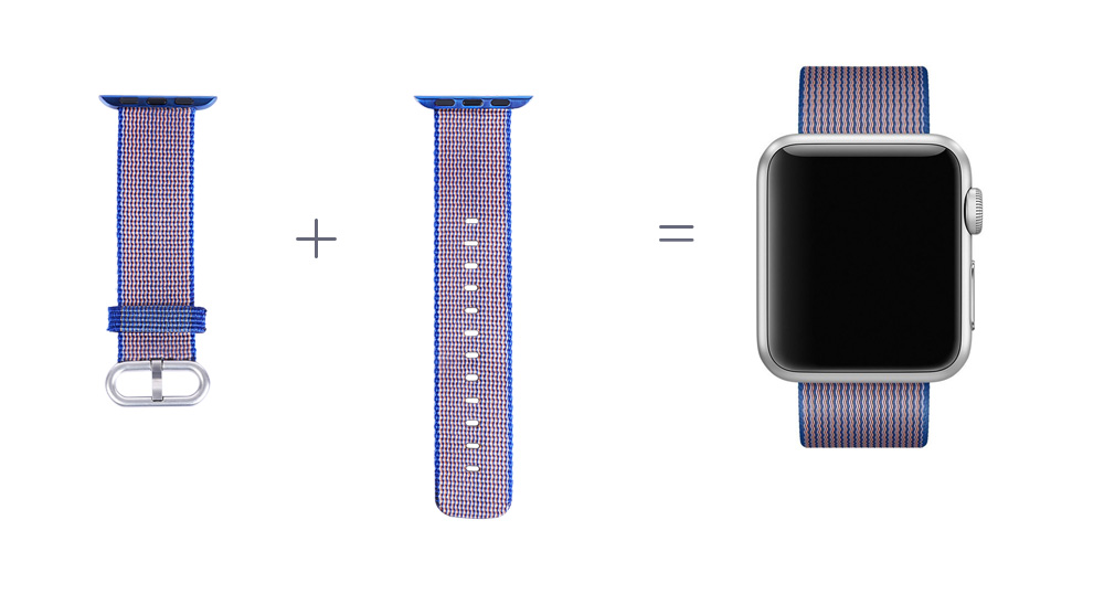 Nylon Watch Strap Wristband Replacement Contrast Color for Apple Watch 38mm