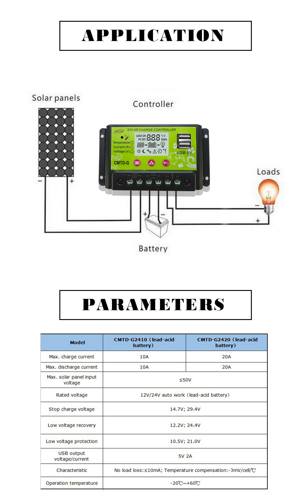 UEIUA CMTD - G2410 10A 12V / 24V Intelligent Solar Charge Controller PWM Battery Regulator