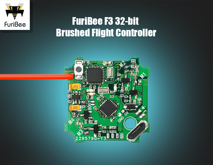 FuriBee F3 32-bit Brushed Flight Controller Integrated with FrSky 8CH Receiver for F36 Blade Inductrix E010 JJRC H36