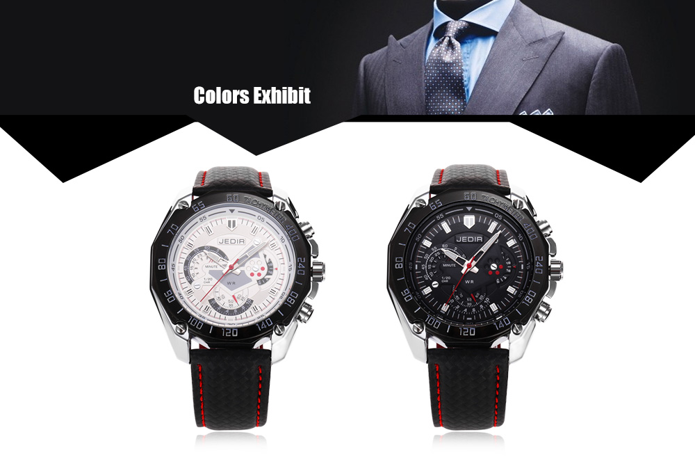 JEDIR 1007 Fashion Male Quartz Watch Leather Strap Decorative Sub-dial Wristwatch