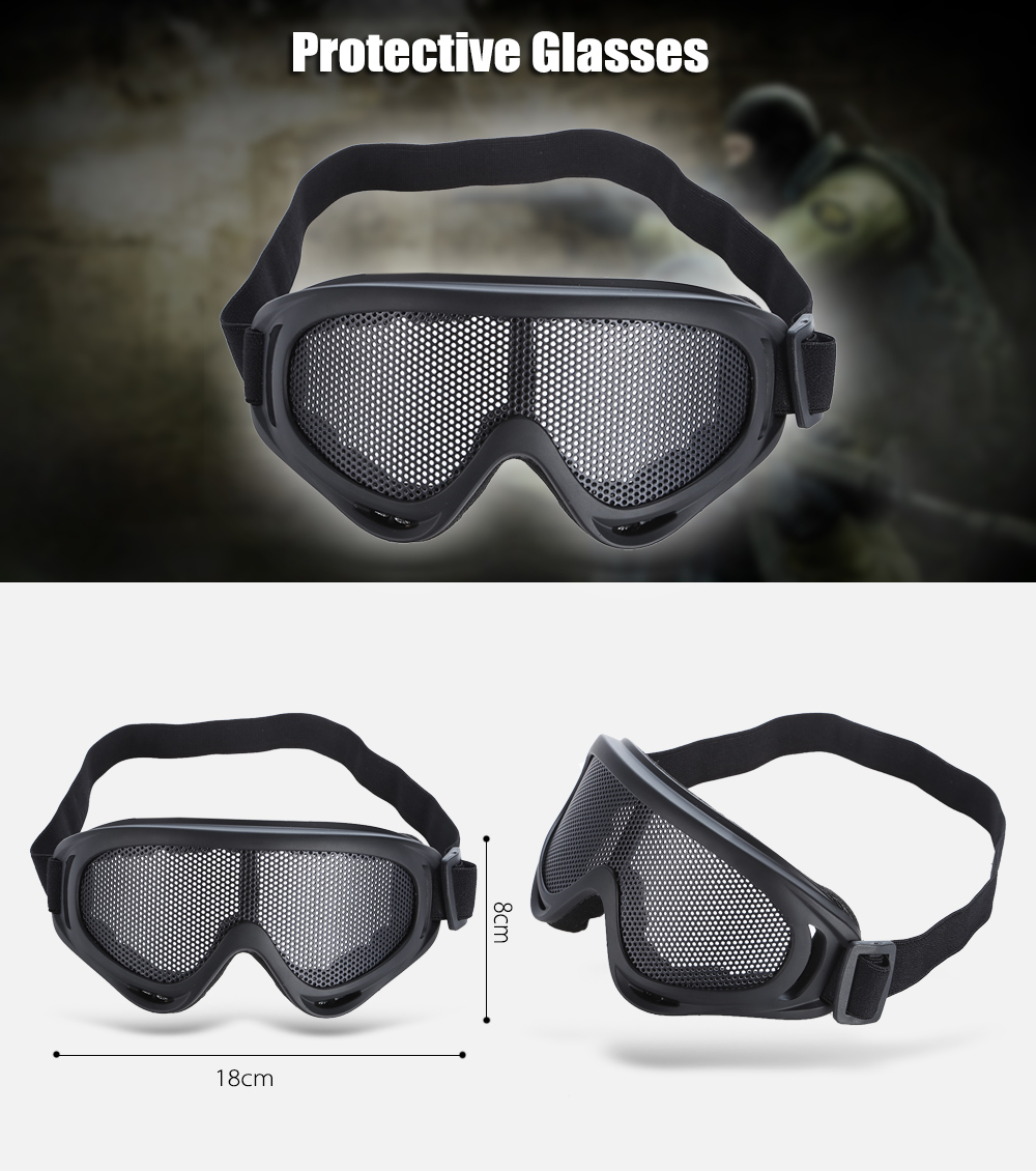 Shock-resistant Protective Glasses Goggle with Metal Net Lens for CS Game Outdoor Adventuring