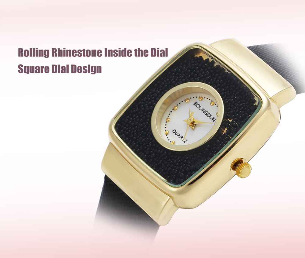 Quartz Watch with Rolling Rhinestone / Square Dial for Women