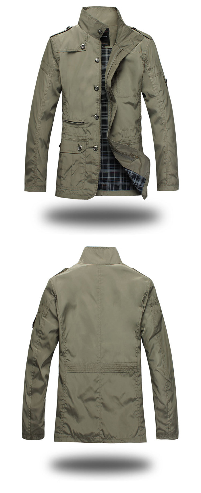 Patched Men Slim Fit Jacket Stand-up Collar Windbreaker