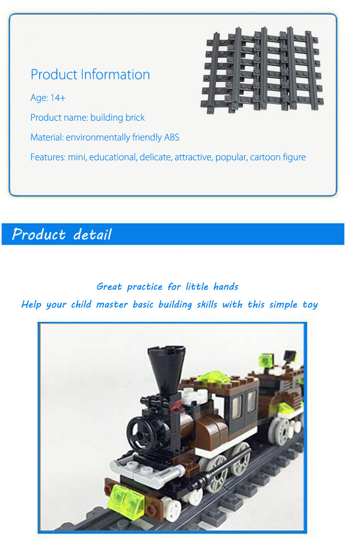ABS Train Miniature Kit with Figure DIY Building Block Toy