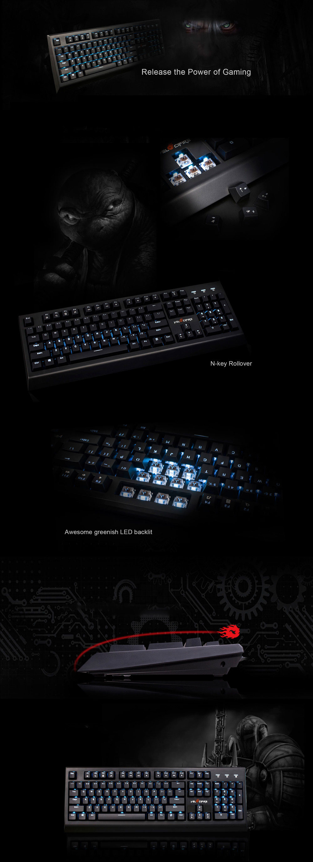 Velocifire VM01 Mechanical Gaming Keyboard with Brown Switch / Backlit Effect