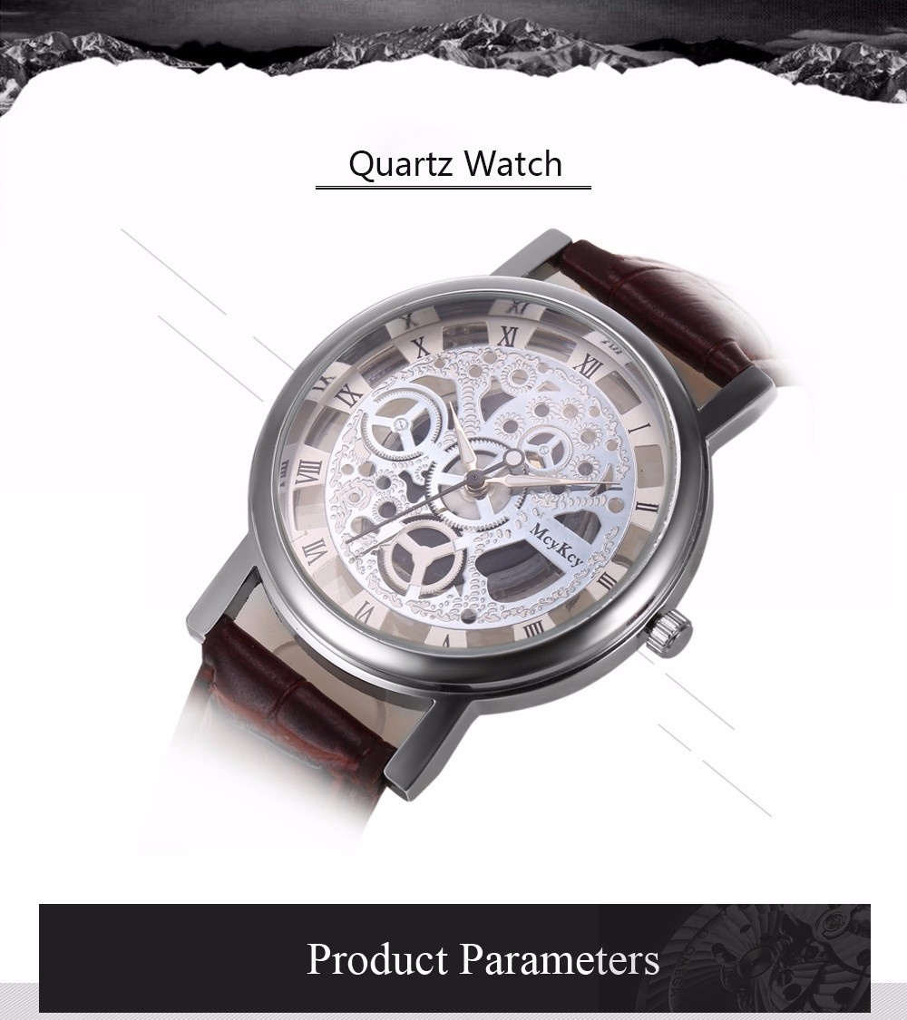 Quartz Watch with Hollow-out Dial Design for Men