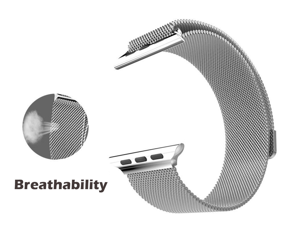 Milanese Loop Watchband Stainless Steel Strap Wristband Magnetic Closure for Apple Watch 38mm