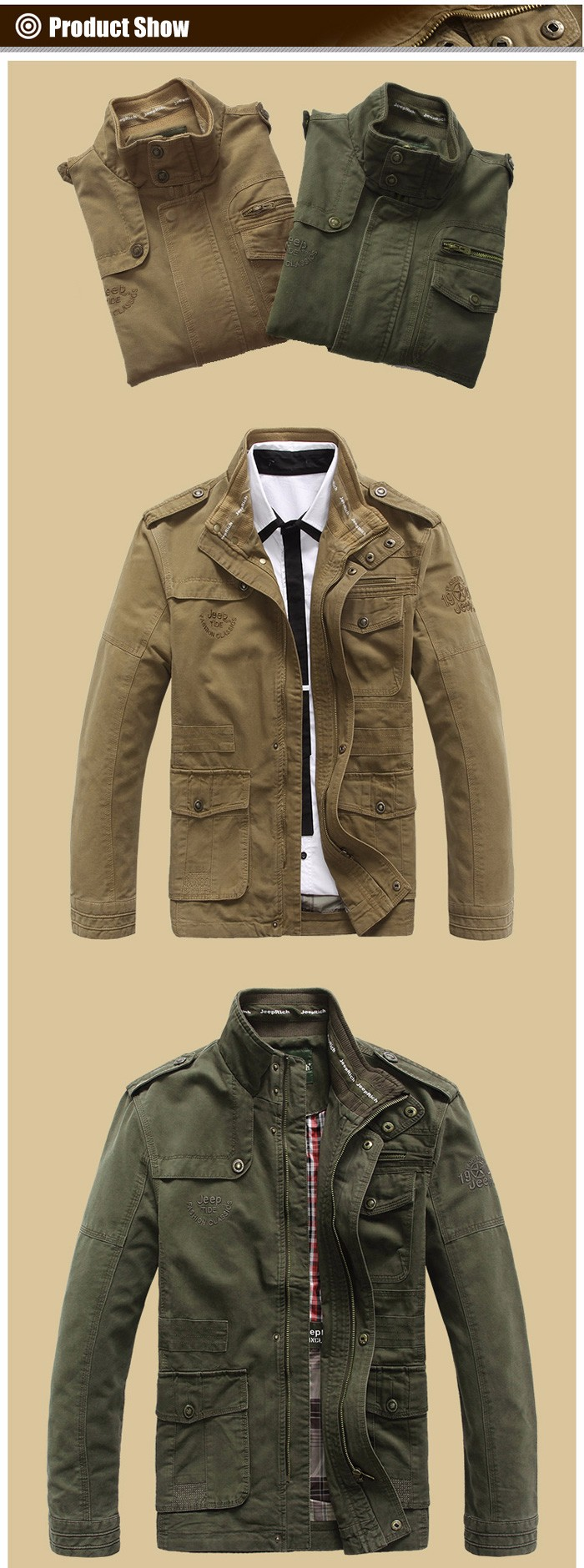 Jeep Rich Patched Stand-up Collar Jacket Cotton Men Wind Coat
